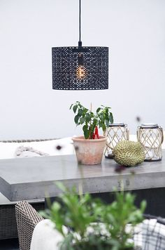 Pendant, 'Maison', can withstand any weather- example, create a Provence atmosphere with bright fabrics and a nice outdoor pendant lamp over the garden table. Modern Garden Furniture, To Go, Garden Table, Pendant Lamp, Floor Lamp, Outdoor Living, Ceiling Lights, Inspiration, Wall Art