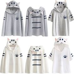 Women's Clothing Straightforward Womens Cat Printing Long Sleeve Hoodies Sweatshirt Women Cat Pullover Cute Contrast Hooded Sweatshirt 2018 Jl.24