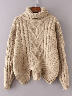 3a22237b1 Shein Cable Knit Turtleneck Asymmetrical Sweater Big Comfy Sweaters