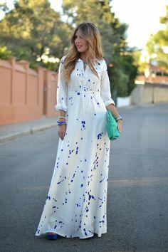Ink Print Shirt Neck Long Sleeve Maxi Dress- reminds me of a robin's egg, LOVE Long Sleeve Maxi, Maxi Dress With Sleeves, Dress Skirt, Hijab Dress, Sleeve Dresses, Maxi Skirts, Tee Dress, Bodycon Dress, Modest Fashion