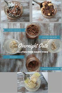 Gluten Free, Dairy Free Overnight Oats. Chocolate Coconut, Chocolate Peanut Butter, Pina Colada, Coconut Cream Pie. www.livingfreelyglutenfree.com