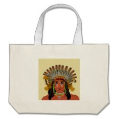 Native American Indian Chief Feather Headdress Canvas Bags