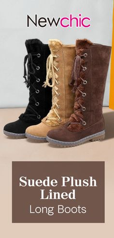 4f3a3707c2e Lostisy LOSTISY Plus Size Women Fashion Warm Plush Lining Suede Lace Up Mid  Calf Boots is hot-sale. Come to NewChic to buy womens boots online.