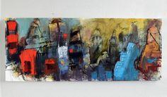 "Eye on London 20x50"" charcoal and acrylic on canvas"
