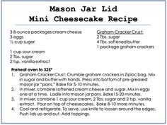 Mini cheesecakes made using mason jar lids. Individual serving size cheesecakes. Includes recipe for these bite size mason jar lid cheesecakes.