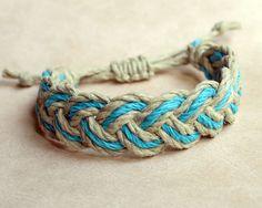 Surfer Sailor Style Hemp Bracelet Mixed Colors Turquoise/Natural