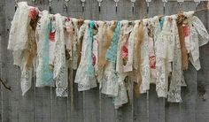Shabby chic garland, hand tied with tattered tea stained and ivory lace, crepe and burlap and accented with coffee and wine colored roses. Perfect for a boho chic wedding or shabby chic decor! Shabby Chic Garland, Burlap Garland, Ribbon Garland, Fabric Garland, Bunting Garland, Buntings, Rag Banner, Fabric Crafts, Diy Crafts