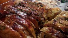Pollo relleno de carne y frutos secos