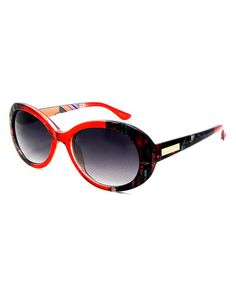 Look at this #zulilyfind! Red & Black Oval Sunglasses by Betsey Johnson #zulilyfinds