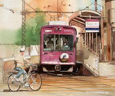 Masato Watanabe  [streetcar] Kyoto. F6 Watercolor 路面電車