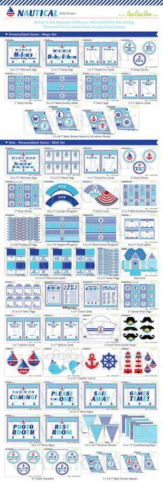 Nautical Baby Shower Package Collection Set Mega by leelaaloo.com II #diy #party #theme  #circus #theme #blue #leelaaloo
