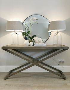 Hanford Console table available to order. Hanford Console table available to order. Hallway Table Decor, Home Entrance Decor, House Entrance, Entryway Decor, Home Decor, Entrance Halls, Hallway Ideas Entrance Narrow, Entrance Hall Tables, Accent Table Decor