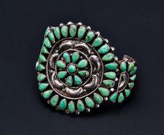 Navajo Cluster Bracelet  Green Carico Lake by littlethingsvintage, $795.00