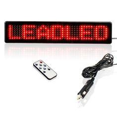 23CM DC5V ~ DC12V  Car LED Sign Remote Control Programmable Rolling information Led Car display screen 7X41 pixels Diy kit (Red)