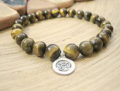 Mens Om Bracelet - Tiger Eye Bracelet with Silver Om Charm, Golden Brown Mala Beads, Indian Spiritual Bead Bracelet...$30.31
