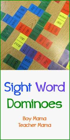 Sight Word Dominoes: How fun for students to match sight words and read them, as well. I could see this being fun for K-2 students or as part of a take home game to play with parents.