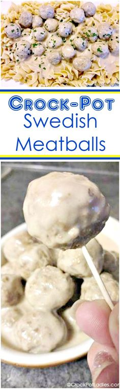 Crock-Pot Swedish Meatballs - Your family will love this easy recipe for Crock-Pot Swedish Meatballs. Serve the slow cooker meatballs over cooked egg noodles for dinner or alone as a delicious appetizer!