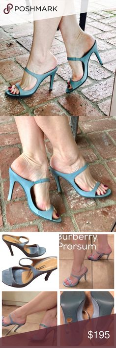 """Sexy BURBERRY BLUE strappy heels sandals 9 gray Gorgeous BURBERRY heels! Beauty in simplicity! Slides stilettos (4"""" heel) in a dusty gray blue. Quality LEATHER. Sexy, comfortable and very wearable color..! Made in ITALY. Size 39.5, fits 9 very well (Footbed is 10.5"""" long).  Excellent condition! Burberry Prorsum is the most expensive /high end /runway couture among the Burberry brands. A must for the fashionista in you..! (F4) Shoes Heels"""