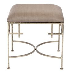 Worlds Away Lolita Silver Leaf Stool with Linen