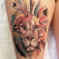 awesome Tattoo Trends - 50 Lion Tattoo Designs and Ideas for Men and Women Lion Tattoo On Thigh, Lion Tattoo Sleeves, Sleeve Tattoos For Women, Thigh Tat, Tattoo Women, Elegant Tattoos, Trendy Tattoos, Beautiful Tattoos, Tattoos For Guys