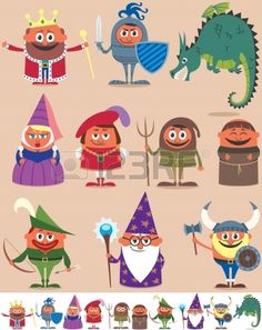 Illustration about Set of 10 cartoon medieval characters. Below are the same characters customized for white background. No transparency and gradients used. Illustration of dragon, dress, dark - 35307654 Superhero Family, Kids Castle, Medieval Art, Medieval Times, Knight Party, Christmas Tree Background, Dragons, Fun Activities For Kids, Dark Ages