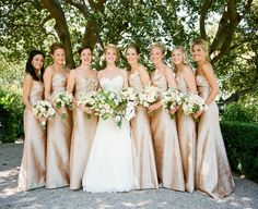 Long gold bridesmaid dresses - love this style