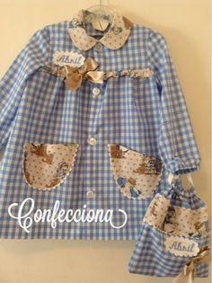 Una selección de las batas confeccionadas para este curso escolar, todas diferentes, todas igual de bonitas. ... Polka Dot Top, Babe, Homemade, Sewing, Dresses, Women, Fashion, Business Professional Dress, Scrappy Quilts