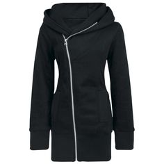 Extra long hooded zip with asymmetrical zipper, broad cuffs, two slide-in pockets and big hood.