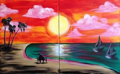 Everyone loves a trip to the beach at sunset. Sit side by side your companion and paint this lovely beach scene.