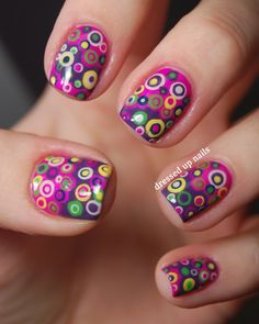 nail art designs | Dressed Up Nails - colorful layered dots nail art