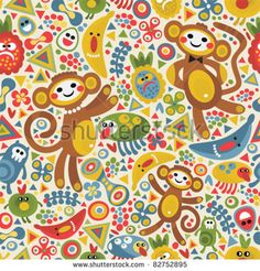 stock-vector-cute-monsters-and-animals-seamless-texture-vector-colorful-pattern-for-you-background-82752895.jpg (450×470)