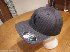 Men's Hurley cap hat surf skate flexfit S/M logo coastal black MHA0000150 NEW