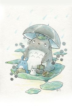 Totoro watercolor illustration