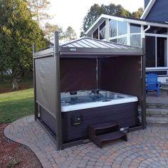 Hot Tub Gazebo, Hot Tub Backyard, Backyard Pool Landscaping, Backyard Gazebo, Landscaping Ideas, Retractable Shade, Tub Enclosures, Hot Tub Cover, Outdoor Fun