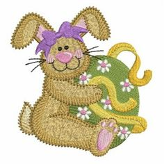 Ace Points Embroidery Design: Easter Bunny & Bows 3.87 inches H x 3.64 inches W