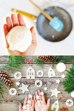 How to make salt dough or air dry clay ornaments & lighted star Christmas garland using cookie cutters & DIY templates, & helpful tips to prevent cracks. Christmas Decorations To Make, Holiday Crafts, Christmas Crafts, Christmas Ideas, Danish Christmas, Natural Christmas, Christmas Ornaments, Christmas Inspiration, Holiday Ideas