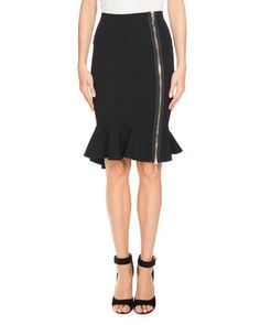 GIVENCHY Ruffle-Hem Zip-Front Skirt, Black. #givenchy #cloth #