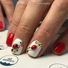 Beach nails Beautiful nails Beautiful red nails Marine nails Nails with ladybug Nails with rhinestones Short red nails Smart nails Smart Nails, Cute Nails, Pretty Nails, Nail Art Design Gallery, Best Nail Art Designs, Hair And Nails, My Nails, Short Red Nails, Marine Nails