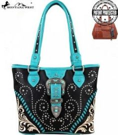 CONCEALED WEAPON MONTANA WEST CARRY HANDGUN PURSE BLACK TURQUOISE BLUE 67 #MONTANAWEST #ShoulderBag