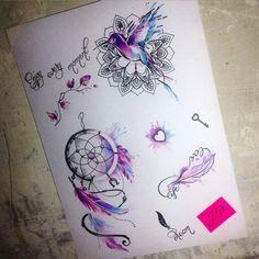 Berrysketch#jdtattoostudio #tattoo #ловецснов #сердце #птица #мандала #перо…