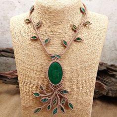 Macrame Necklace Pendant Cabochon Malachite Stone Cotton Waxed Cord Handmade #Handmade #Pendant