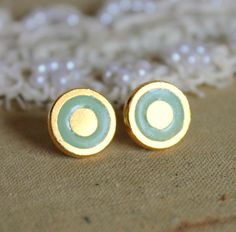 Mint gold stud  earring petit elegant 14k gold coated by iloniti, $19.00
