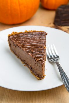 """Triple Chocolate Pumpkin Pie: """"The final component of my Thanksgiving dinner was perhaps the most important part, the dessert, and this year I wanted to try something a little new, a chocolate pumpkin pie. Pumpkin pie is often the dessert of choice for Thanksgiving and since chocolate and pumpkin go so well together I was thinking that a chocolate pumpkin pie would be amazing!"""""""