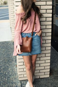 Denim Skirt and Sneakers | Casual Fall Style | Bell Sleeve Top | Blogger Style | Sneaker Style | Cognac Leather Crossbody