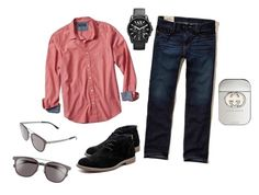 """""""Outfit para hombre"""" by clarisaguerra-243 on Polyvore featuring Banana Republic, Hollister Co., Hush Puppies, Armani Exchange, BOSS Hugo Boss, Gucci, men's fashion y menswear"""