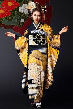 kimono, yellow, black, floral, Japanese