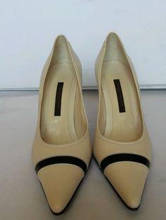 "Narciso Rodriguez Ivory Black Pointed Toe Womens  Classic Pumps 3"" High Heels #NarcisoRodriguez #PumpsClassics"