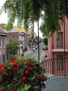 View from the balcony toward Bourbon Streets over summer flower baskets. - Get $25 credit with Airbnb if you sign up with this link http://www.airbnb.com/c/groberts22