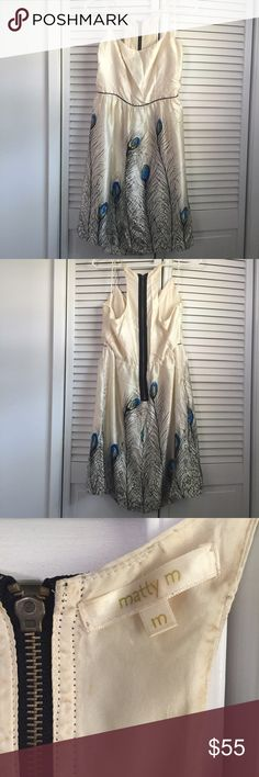 Gorgeous Silk Feather Dress Gorgeous 100% silk dress by Matty M. Worn a few times, but too big for me. Has an exposed zipper on the back. Light staining along back of zipper (pictured). Dress features peacock feather print with a black piping to define the waist! Nordstrom Dresses