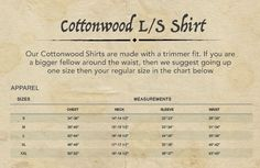 Cottonwood shirt size chart